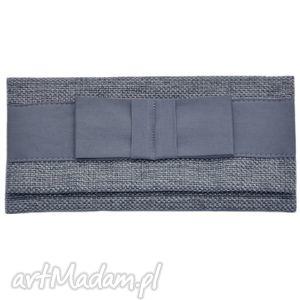 03-0010 szaro-niebieska torebka kopertówka wieczorowa do ręki crow, ekskluzywne