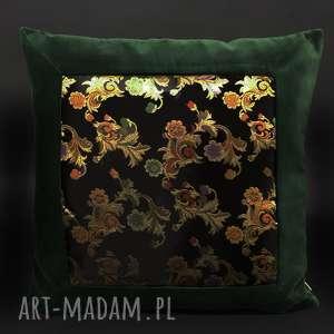 poduszka aksamit i kwiaty 45x45cm, butelkowa zieleń, aksamitna, akasmit