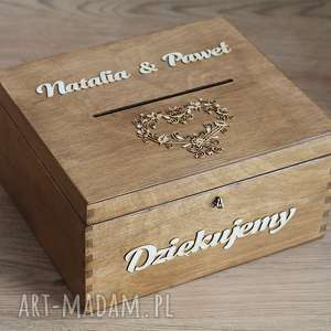Pudełko na koperty - koronkowe serce, drewno, eko, rustykalne,