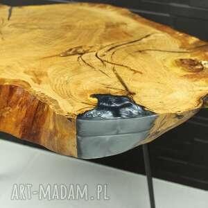 stolik dębowy z żywicą epoksydową, loft