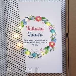 świecący obraz led, kwiaty, wianek, prezent na ślub, rocznicę, urodziny