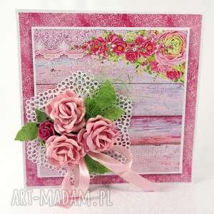 Różowa kartka, życzenia, scrapbooking
