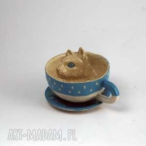 ceramiczna filiżanka kubek z kotem niebiesko-biało-beżowa, kubek, zkotem