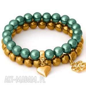 golden hematite & emerald pearl with pendants - perełka kwiatek, hematyt