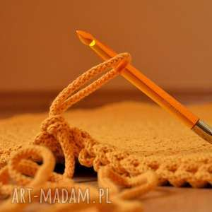 dywan dla pani iwonki - żółty 110 cm, dywan, sznurek bawełniany, na szydełku