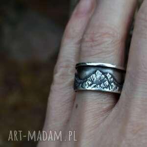 pierścień, obrączka z górami, góry, srebrna obraczka, górska
