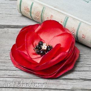 CZERWONA broszka kwiatek, przypinka, prezent dla niej, broszka, broszki, elegancka