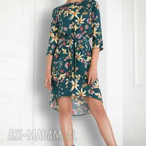 Zielona sukienka w kwiaty, sukienka, folk, kolorowa, swobona, pasek