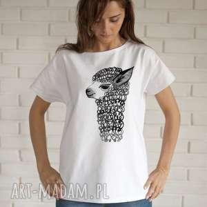 Alpaka koszulka bawełnina biała z nadrukiem s m bluzki creo