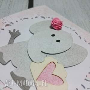 zaproszenie kartka elegancki słonik w różu - sesja, chrzest, urodziny