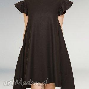 hand-made sukienki czarna sukienka z falbankami