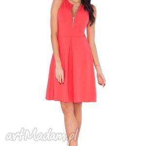 sukienki sukienka t_4 koral, sukienka, elegancka, wygodna, kontrafałda, zamek