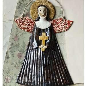 ceramika św rita z cascii, ceramika, anioł, zakonnica, rita, święta, krzyż
