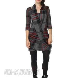sukienka z dzianiny scotty square, jesień, zima, polska marka, dzianina, krata