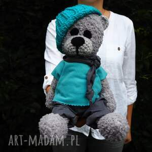 handmade zabawki tolek - szydełkowy miś, personalizacja