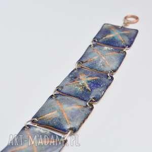 bransoleta emaliowana, bransoleta, emalia, art, miedź, ręczna, jubilerska pod