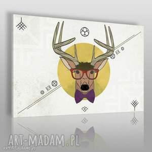 obrazy obraz na płótnie - jeleń hipster 120x80 cm 40401 , hipsterski