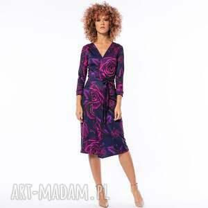 sukienki monica - magic rose, elegancka, elastyczna, kopertowa