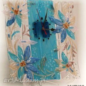 zegary artystyczna kompozycja ze szkła - zegar niebieskie kwiaty, szklo,