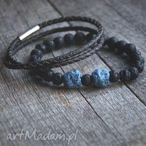 KOMPLET męskich bransoletek :: black n blue LAVA, lawa
