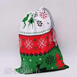 worek na prezenty prezentowy świąteczny sweterek zielony rozmiar m