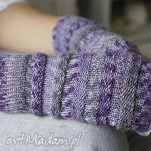 hand-made rękawiczki mitenki lawendowe