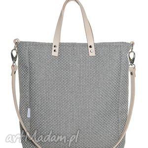 torba cuboid mana light, szara, aktówka, torebka, elegancka, nude, laptop, prezent