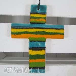 ceramika ana krzyżyk ceramiczny, krzyż, kolorowy, ceramika, komunia, chrzciny