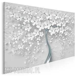 obraz na płótnie - drzewo biały srebrny kwiaty 120x80 cm 98402