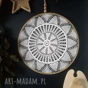 łapacz snów biały 49 cm, snów, lapacz, dekoracja ścienna, koronka, koło