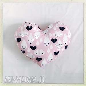 poduszka serce krople - serce, krople, róż