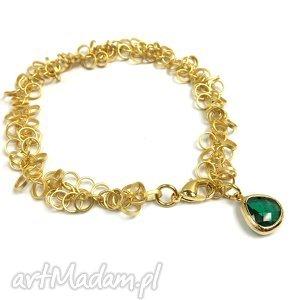 bransoletki bransoletka z kryształkiem emerald, pozłacana, bransoletka, złota