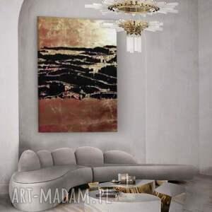 copper treasure - nowoczesny obraz do salonu z metaliczną strukturą, złoty