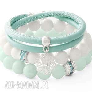 mint & white set with pendants lavoga - rzemień, koraliki, jadeit