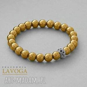 hematite with bead in gold lavoga - złoto, hematyt
