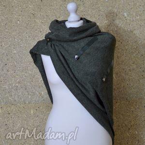 hand-made szaliki szal, chusta, narzutka, ponczo ze skórą- zieleń