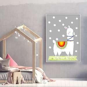 pokoik dziecka lama 50x70cm, lama, zwierzak, plakat, ilustracja, obraz