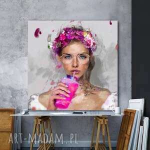 obraz lady smoothies 100x100 cm pink, obraz, plakat, dekoracje, obrazki