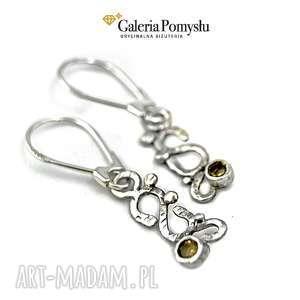 kolczyki z cytrynem, cytryn, srebro, 925, wiszące, biżuteria
