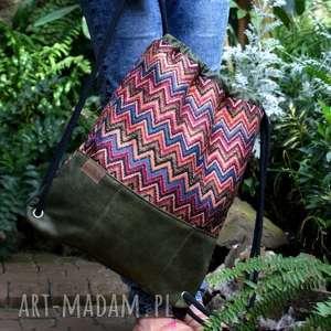 ręcznie robione plecaki plecak vege etno zieleń