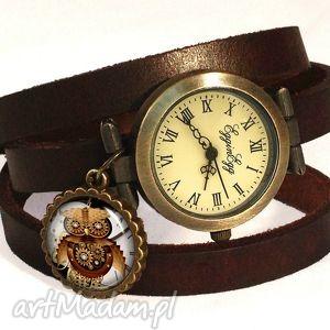 zegarki steampunkowa sowa - zegarek / bransoletka na skórzanym pasku
