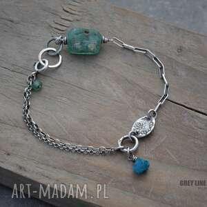 Bransoletka mini ze szkłem antycznym i apatytem, srebro, apatyt, surowa, szkło