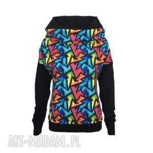 Czarna bluza z kapturem graffiti, czarna-bluza, komino-kaptur