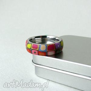 kolorowa obrączka - obrączki, pierścionki, geometryczne, retro, kolorowe