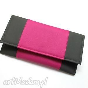 Kopertówka - stalowy i środek fuksja, wesele, kopertówka, elegancka, wizytowa