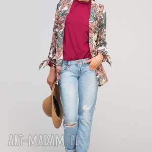 Żakiet z wiązanym rękawem, ZA116 liście, żakiet, twist, modny, casual, luźny