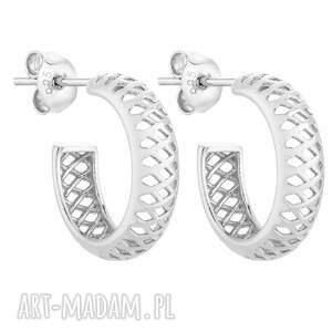 srebrne ażurowe kolczyki - półkola, kółka, eleganckie