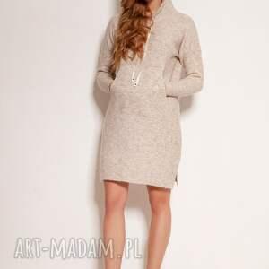 swetry dzianinowa sukienka - swe141 beż, sukienka