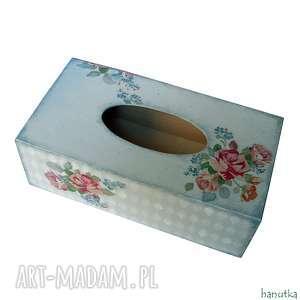 bukiety vintage - chustecznik hanutka - róże, pudełko, romantyczne