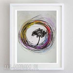 drzewo-akwarela formatu 24/32 cm, akwarela, drzewo, farby, tusz